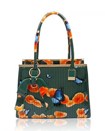 128fbd4374f1 Womens High Quality PU Leather Poppies Flower Butterfly Handbags Top Handle Shoulder  Tote Bag Or Matching Purse 511 (Olive)  Amazon.co.uk  Clothing