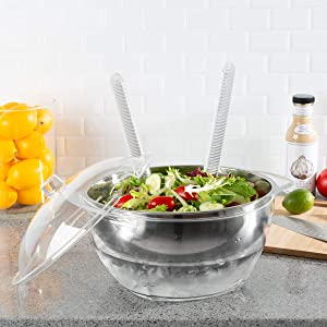 Classic Cuisine Salad Bowl with Lid and Utensils-5PC Cold Serving Dish Set with Ice Chamber-For Chilled Pasta, Potato Salad, Fruit and More