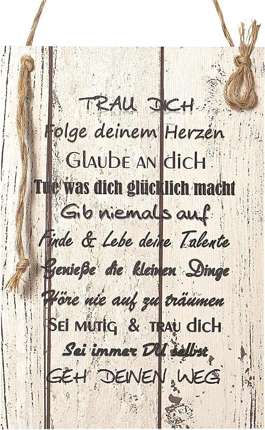 Wand Deko Holzschild Mit Spruch Im Shabby Chic Vintage Stil