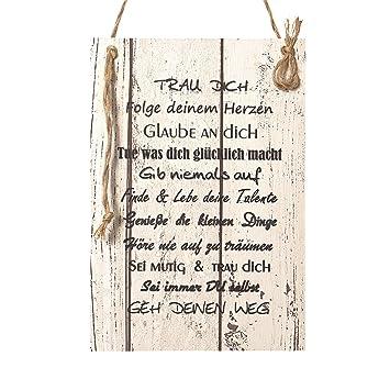 Wand Deko Holzschild mit Spruch im Shabby Chic Vintage Stil (29x20x0 ...