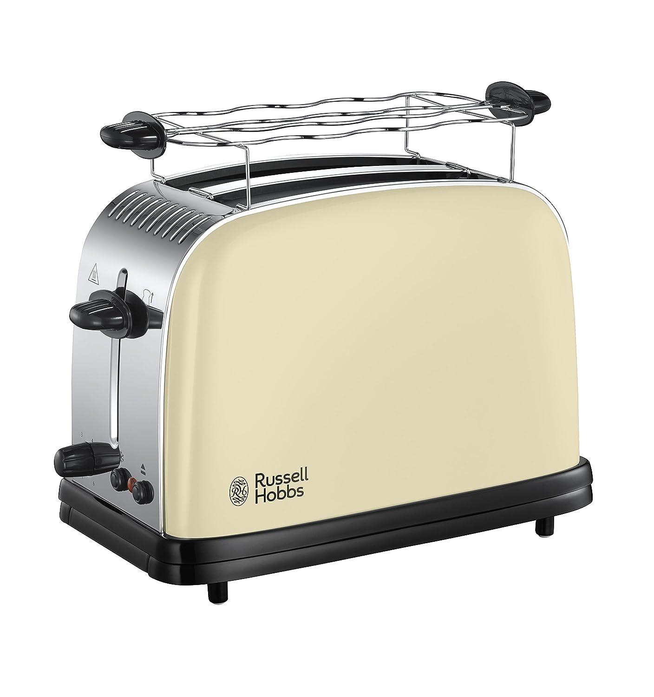 Russell Hobbs 23334-56 Colours Cream - Tostadora de acero inoxidable, 1100 W, ranuras gran tamaño, soporte calienta panecillos, color crema easy toaster russel hobbs tostadoras pan