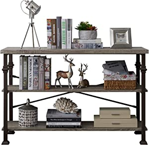 Console Sofa Table, Rustic Console Table&TV Stand, Industrial 3-Tier Hallway Entryway Table, with Storage Open Bookshelf, for Living Room Bedroom Entryway, Brown Oak, 47-Inch Long