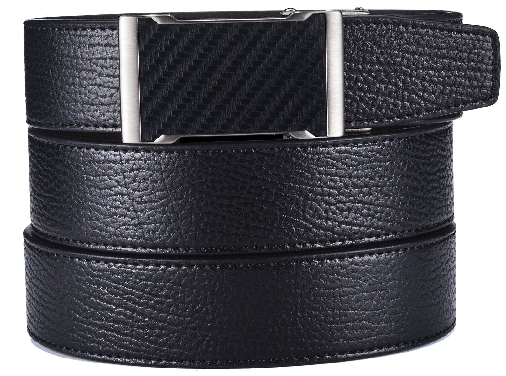 plyesxale Men's Leather Ratchet Dress Belt- Length is Adjustable - Delicate Gift Box (Waist Size:26-36'', Black Belt K124S10)