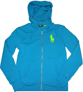 Polo Ralph Lauren Women S Big Pony Zip Up Hoodie Oceanblue Small At