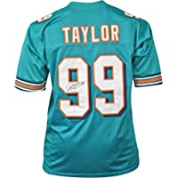 $103 » Jason Taylor Autographed Football Jersey - Miami Blue Custom - Hand Signed & JSA Authenticated