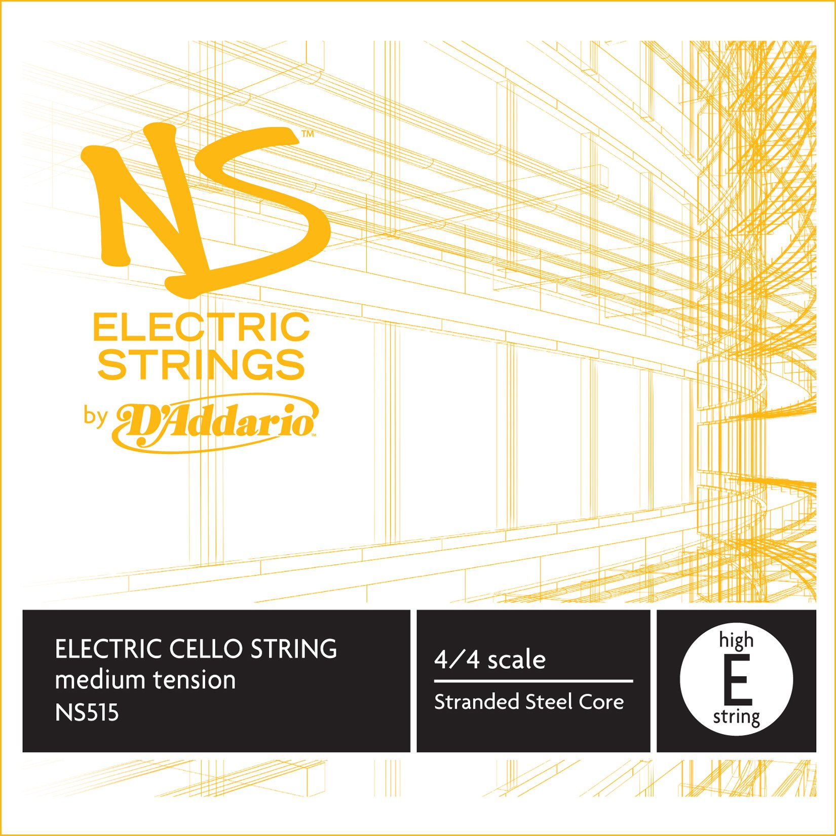 D'Addario NS Electric Cello Single High E String, 4/4 Scale, Medium Tension