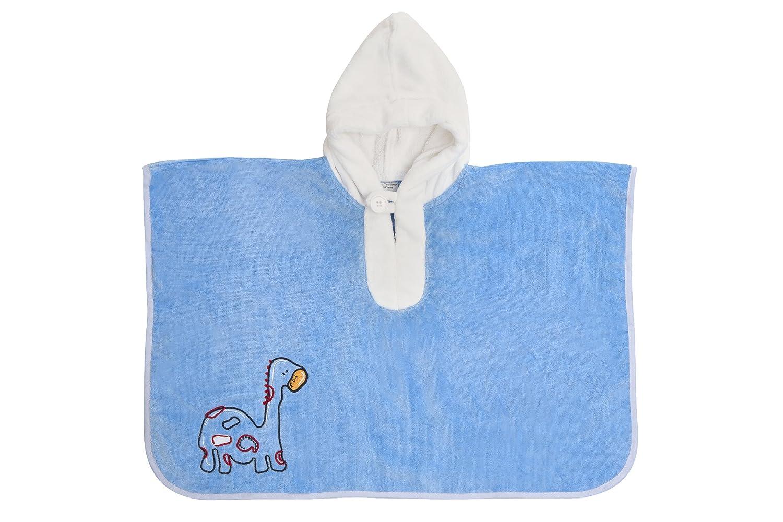 Schlummersack kuschelig weicher Badeponcho mit Kapuze Dinosaurier in blau für Jungen 1-3 Jahre Slumbersac PON700-2