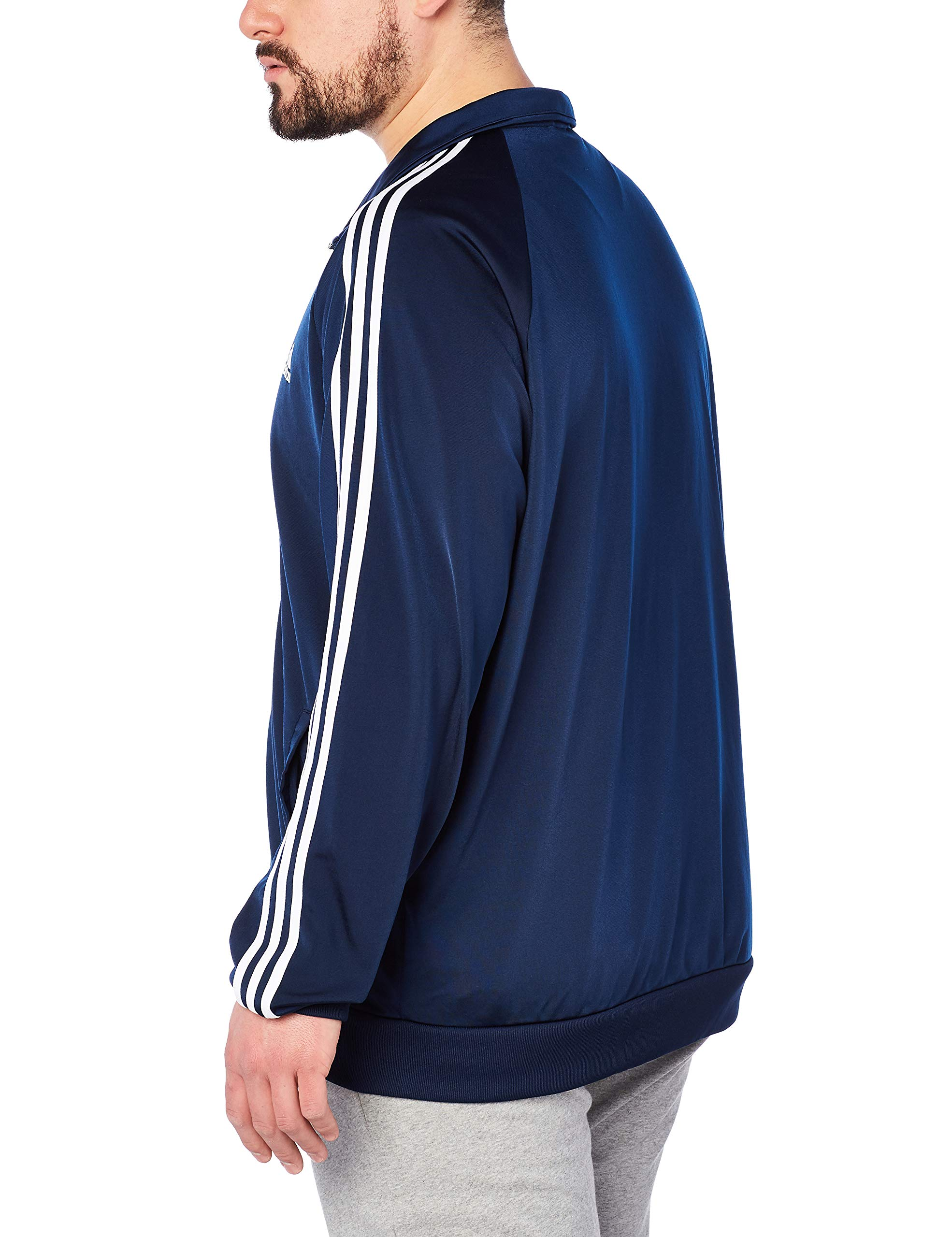 adidas Men's Essentials 3-Stripe Tricot Track Jacket, Collegiate Navy/White, Small by adidas (Image #3)