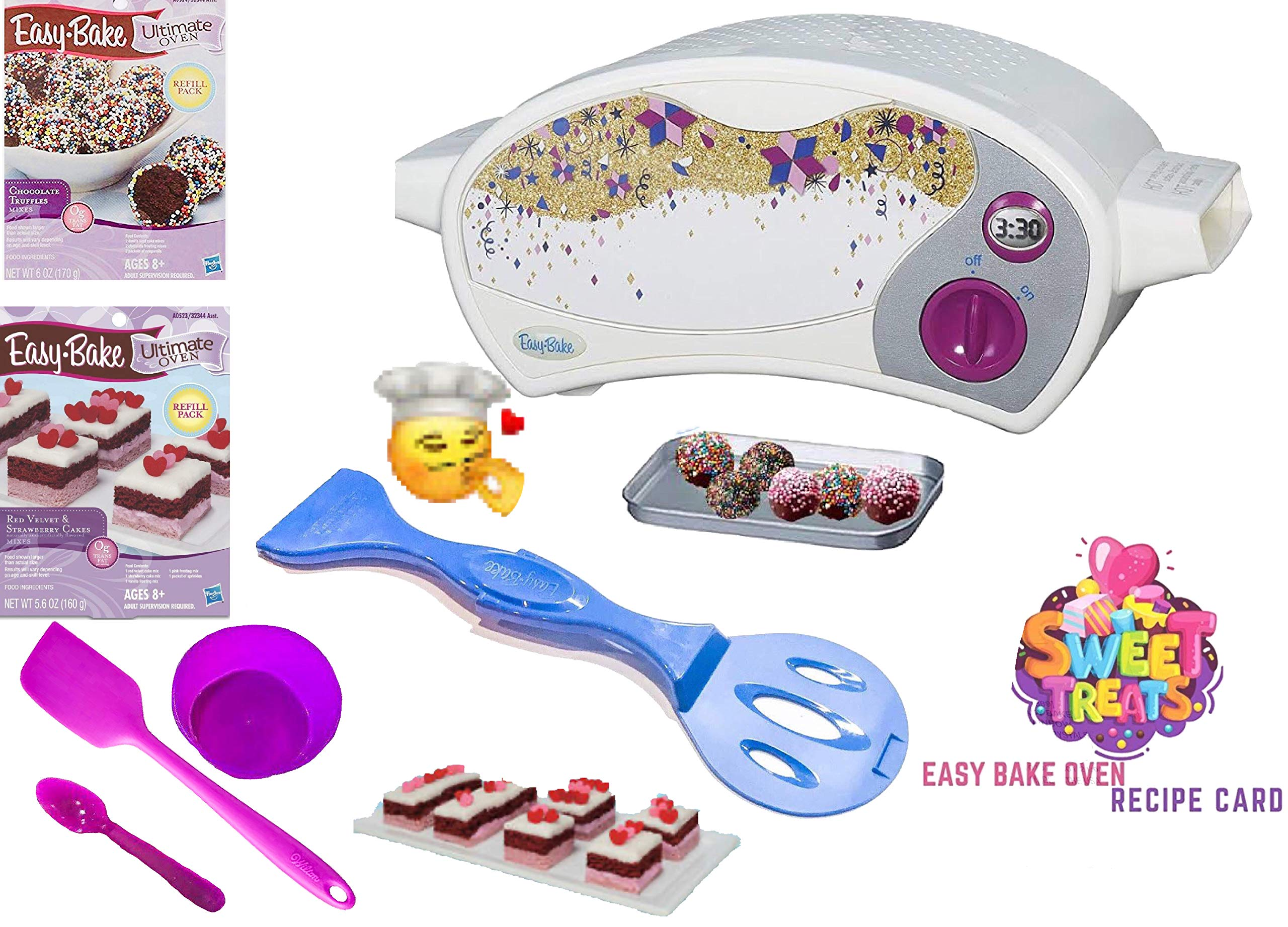 Easy Bake Ultimate Oven Baking Star Edition + 2 Oven Refill Mixes + 2 Sweet Treats Tasty Oven Recipes + Mixing Bowl, Spoon AND EXTRA BAKING ACCESSORIES (7 Total Items) (purple) by Easy Bake