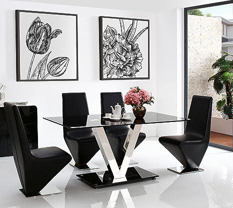 Tavolo In Vetro Nero.Vidal 160 Cm In Acciaio E Tavolo In Vetro Nero 4 Sedie Ecopelle