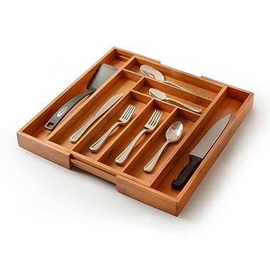 Utensil Drawer Organizer, Bamboo Silverware Organizer Expandable Kitchen Drawer Organizer Cutlery Tray
