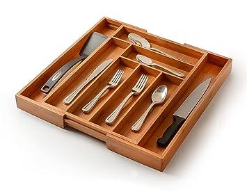 Bambüsi - Organizador ampliable para cubiertos de cajón de 100% de bambú moso para mantener el orden y organizar el cajón de los cubiertos: Amazon.es: Hogar