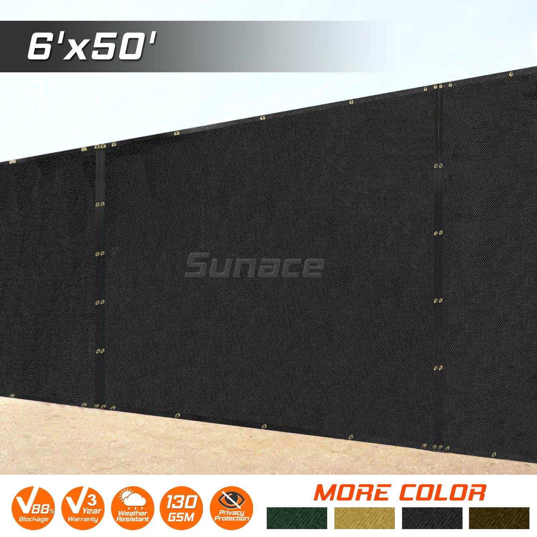 SUNACE 6' x 50' Heavy Duty Fence Privacy Screen Windscreen Shade Fabric Mesh Tarp - Black