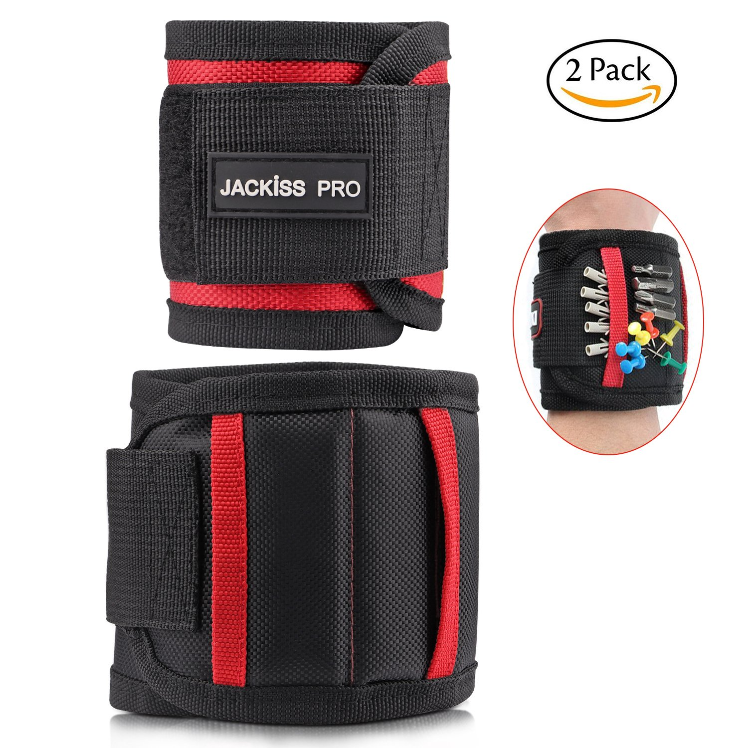 Magnetic Wristband with 15 Super Strong Magnets,Magnetic Wrist for Holding Tools Screws Nails Drilling Bits Armband Gift for DIY Handyman Men Dad Husband Boyfriend Women By JACKiSS PRO (2 Sizes)