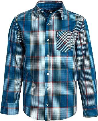Ben Sherman Boys Camisa de manga larga con botones (azul marino/puntos rojos, 10/12)