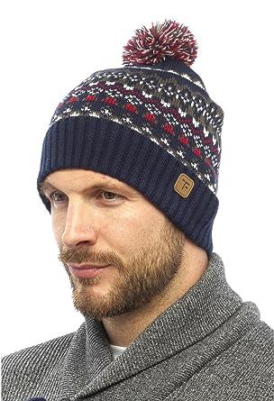 Tom Franks Mens Fairisle Acrylic Pom Pom Hat Blue Red: Amazon.co ...