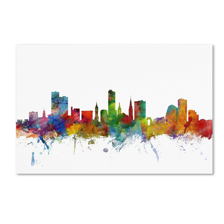 Trademark Fine Art Leicester England Skyline II Canvas Art by Michael Tompsett, 16 by 24-Inch