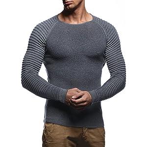 Herren Pullover Feinstrick Streifen Weiß Grau Schwarz BR1699