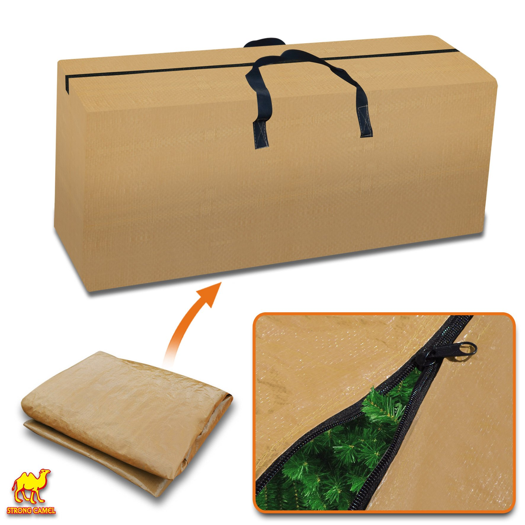 Strong Camel Heavy Duty Large Artificial Christmas Tree Storage Bag For Clean Up Holiday Green Up to 8ft Tan