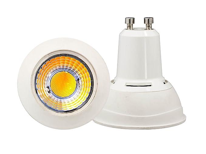 Bombillas GU10 7W COB 220V 2700k Luz Blanco Cálido 650lm angulo 60º Spotlight LED