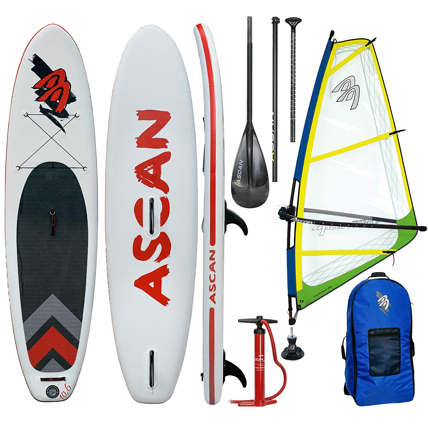 Ascan Wind iSUP Board 10.6 - Tabla de Windsurf Hinchable con Aleta ...