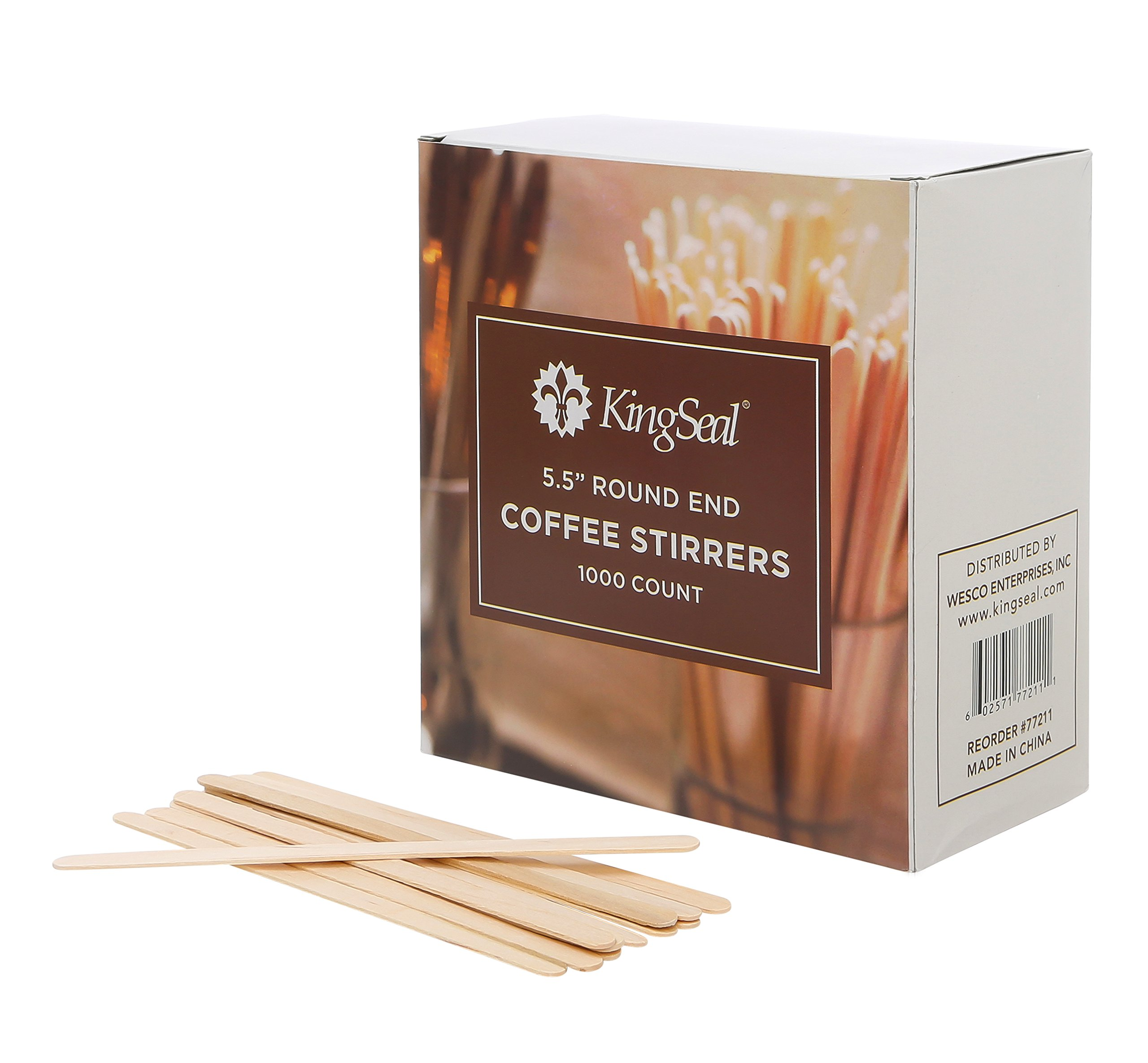 KingSeal Natural Birch Wood Coffee Beverage Stirrers - 5.5 Inches, Round End, 10 Packs of 1000 each per Case
