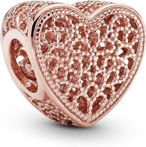 Pandora Women's Rose Filigree & Metal Beads Heart Charm 14 Carat Rose  Gold-Plated Metal Alloy 781811