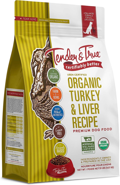 Tender & True Pet Nutrition Organic Turkey & Liver Recipe Dog Food, 20 lb (46012)