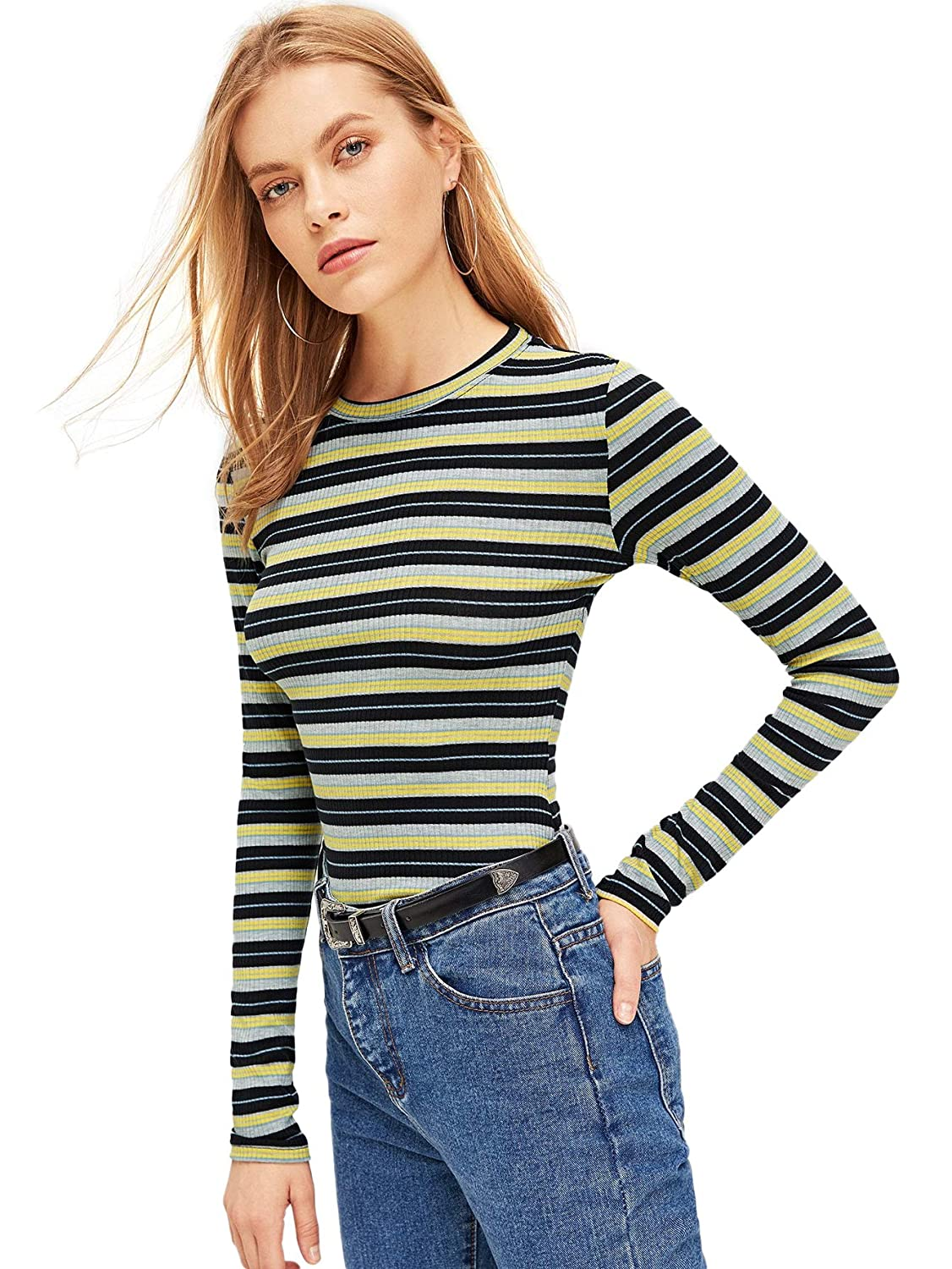 Multicolor13 Milumia Women's Casual Striped Ribbed Tee Knit Crop Top