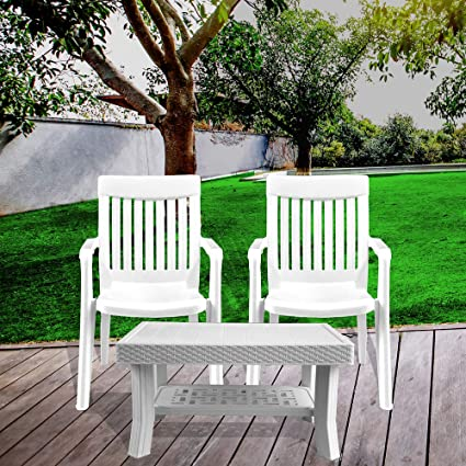 Italica Furniture - Armchair and Table Combo - Indoor and Outdoor Furniture Set(9012 & 9503, White, Set of 2 Chairs)