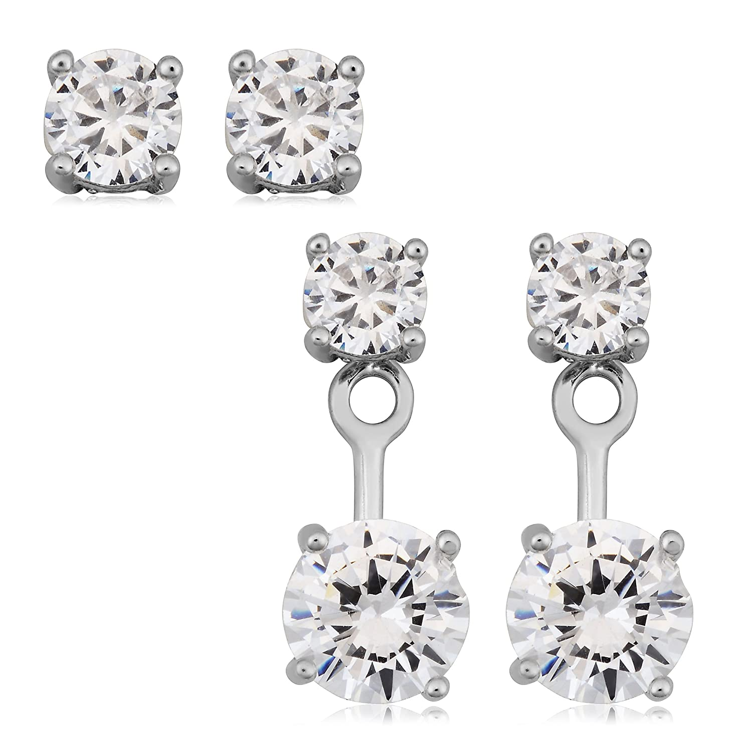 Sterling Silver Front Back 2 in 1 With Cubic Zirconia Stud And Ear Jacket Earrings Set Fremada SSEFB1CZRH
