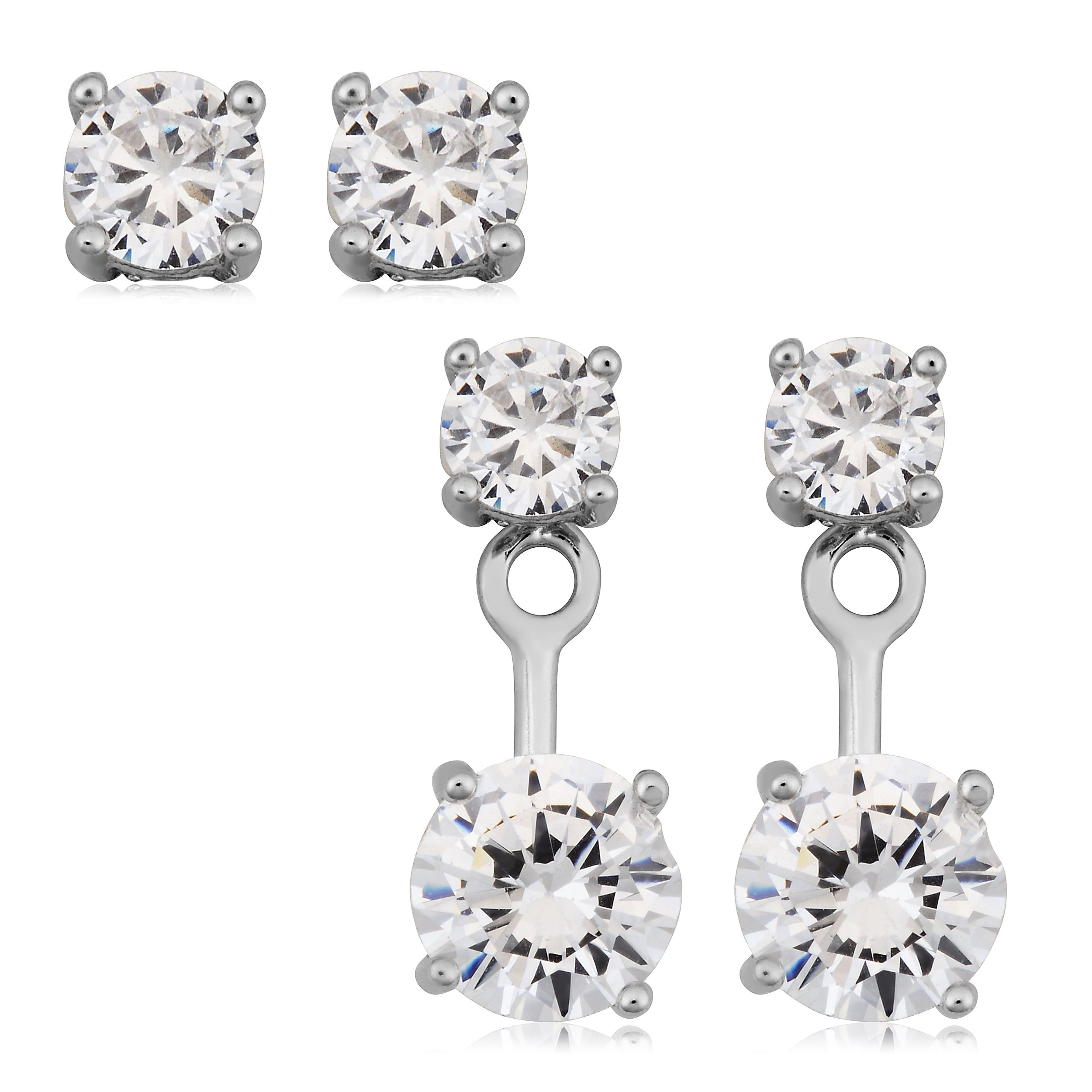 Sterling Silver Front Back 2 in 1 With Cubic Zirconia Stud And Ear Jacket Earrings Set