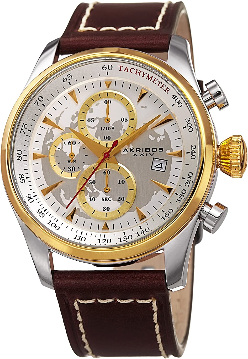 Akribos XXIV Chronograph Men s Watch – 3 Subdials with Date Window on Sunray Dial On Genuine Leather Strap – AK915