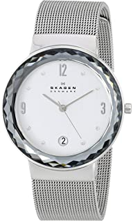 Skagen Womens Silvertone Mesh Watch with Large Faceted Bezel