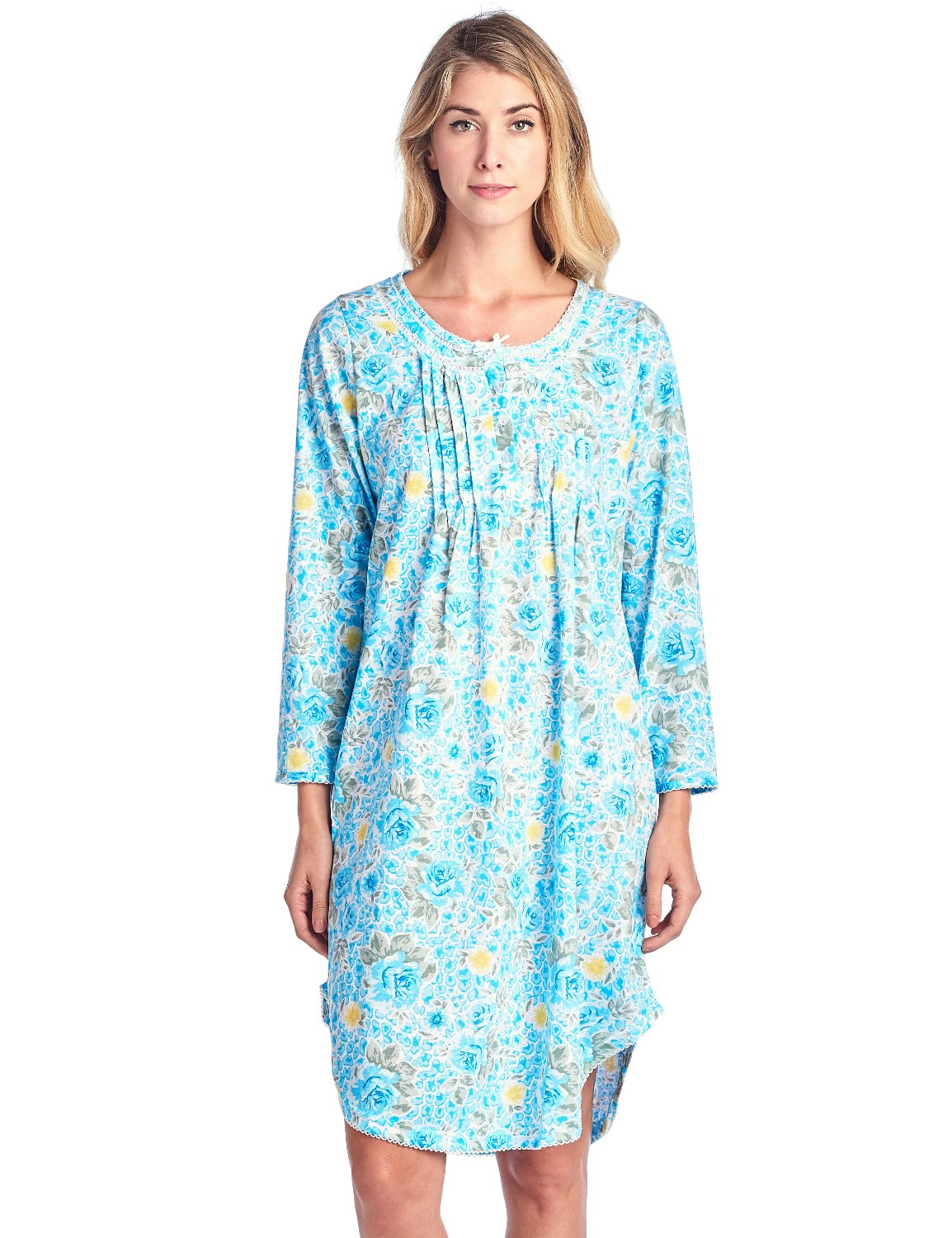 Casual Nights Women's Floral Pintucked Long Sleeve Nightgown - Aqua - Medium by Casual Nights