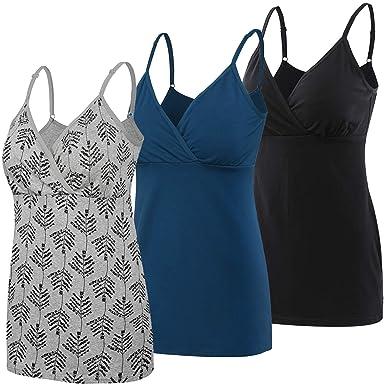 b4c2e0f1b Nursing Tops Tank Shirt Cami Sleep Bra for Maternity and Breastfeeding  3PCS Pack (Small