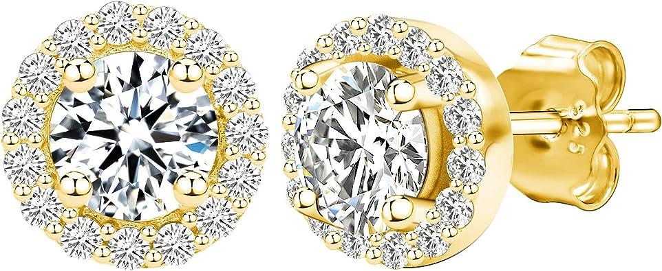 "14k Yellow Gold Precious Ladies Necklace 18/"" CZ stones 4mm round"