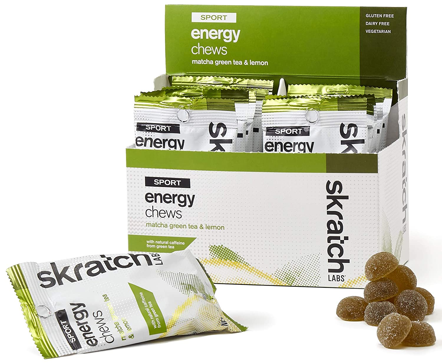 SKRATCH LABS Sport Energy Chews, Matcha Green Tea and Lemon (10 pack) - Developed for Athletes and Sports Performance, Gluten Free, Dairy Free, Vegan
