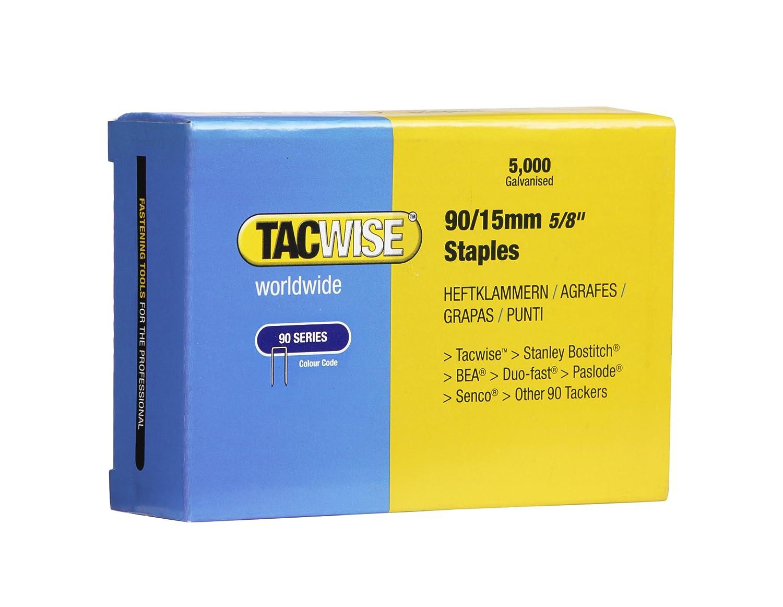 Tacwise 0306 Grapas de Corona Estrecha 90/15 mm, Set de 5000 Piezas