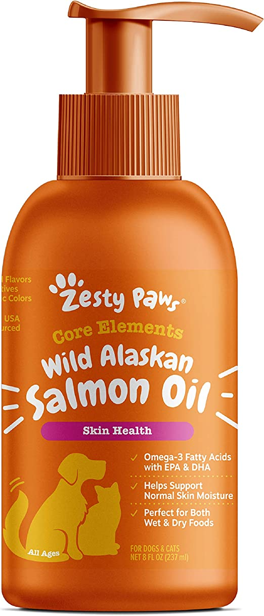Zesty Paws Pure Wild Alaskan Salmon Oil for Dogs & Cats - Supports Joint Function, Immune & Heart Health - Omega 3 Liquid Food Supplement for Pets - Natural EPA + DHA Fatty Acids for Skin & Coat