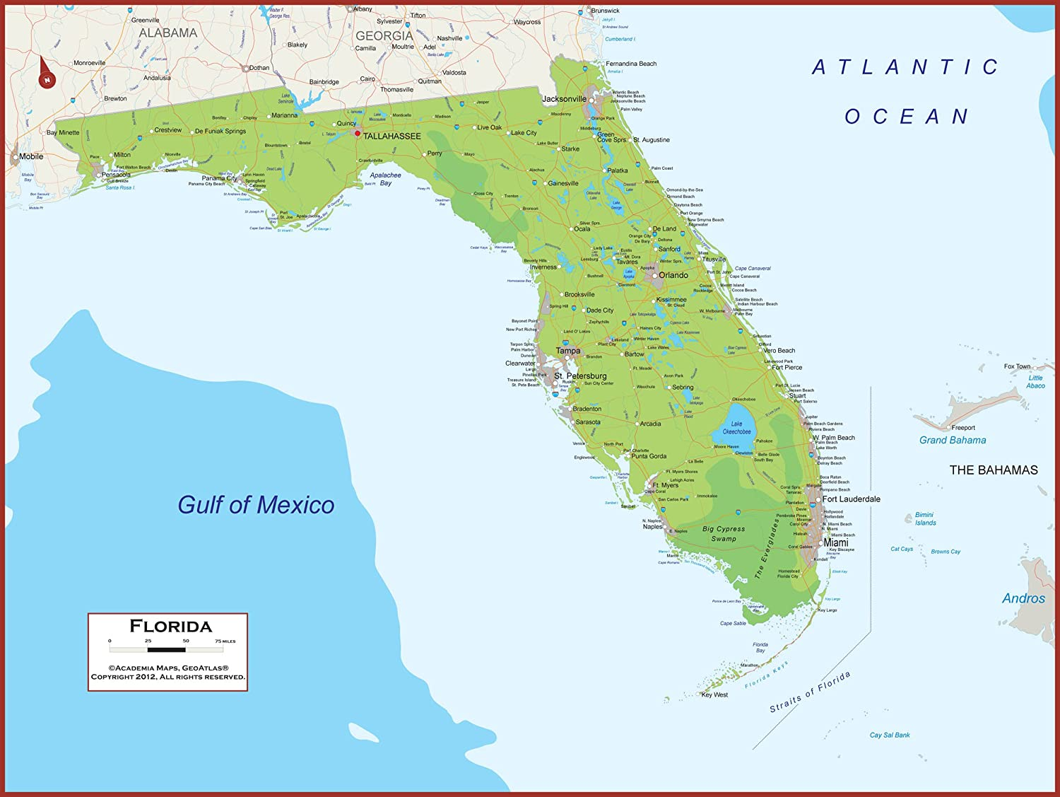 Florida Wall Map Poster With Topography 36 X 27 Classroom Style Map With Durable Lamination Safe For Use With Wet Dry Erase Marker Brass