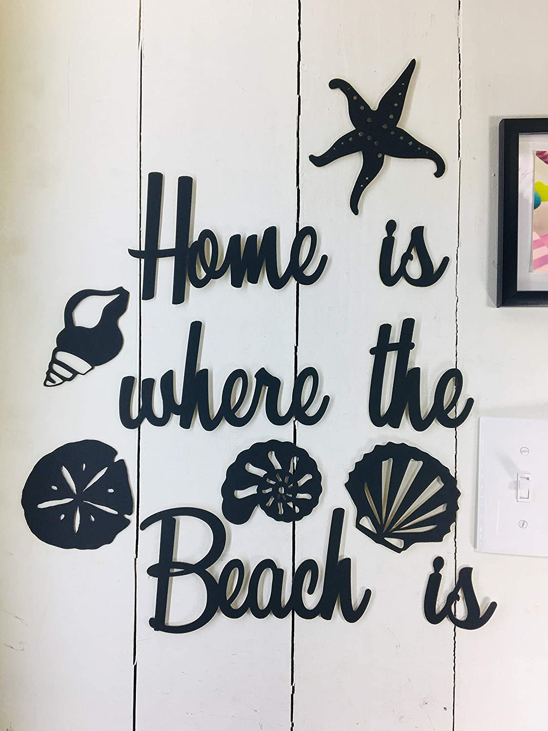Home is where the Beach is - this is NOT Vinyl Decal or Peel Stick - easily Tak-it-Up with Plasti-Tak provided Removable Paintable Art Wall Décor Gift Quotes sayings for Beach Family Home