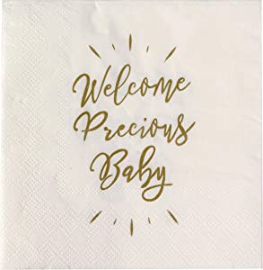 Sweet Details Party Co. 'Welcome Precious Baby' Metallic Gold Napkins 50 Pack 5x5 in for - Baby Shower, Gender Reveal, Baby Welcome Announcement, Sprinkle, Baptism Celebration - Boys or Girls