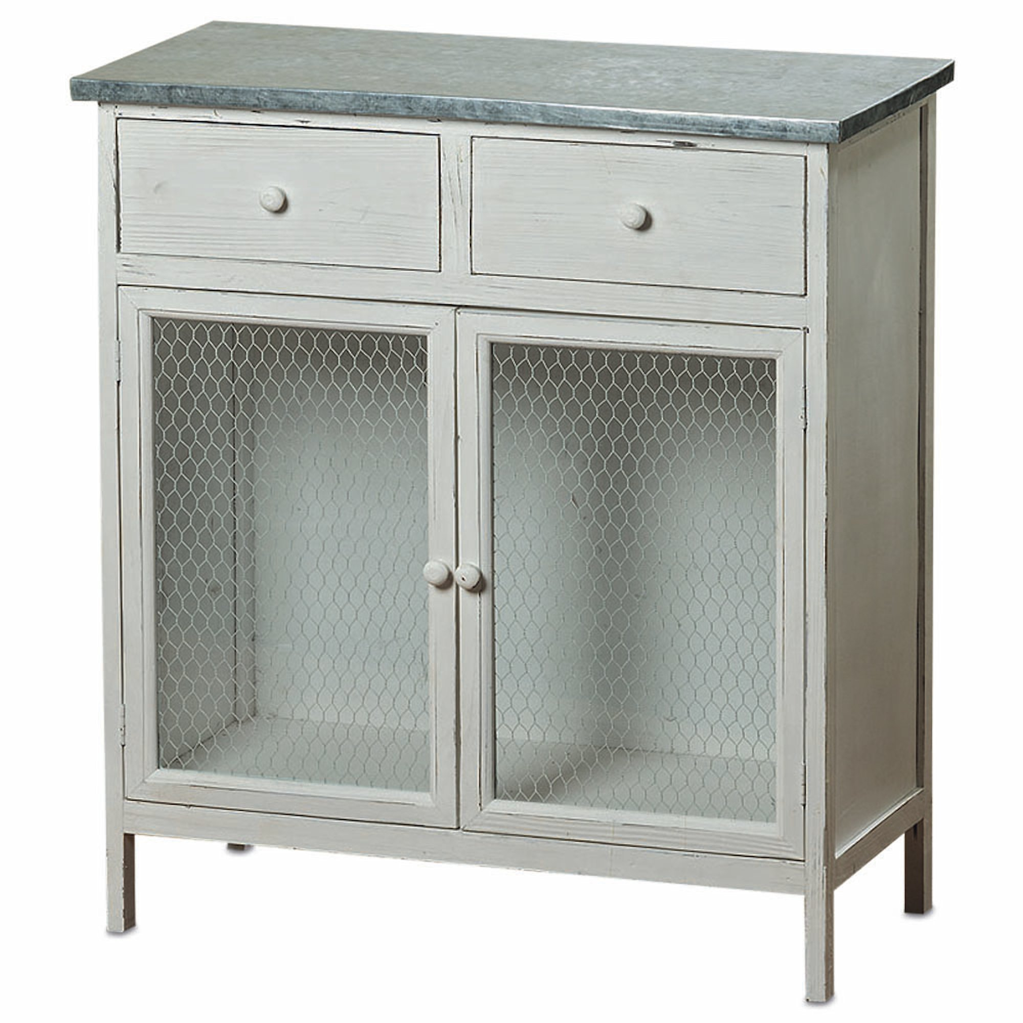 The Farmer's Market Shabby Commode Cabinet, 2 Drawers, Galvanized Metal, Chicken Wire, Distressed Rustic Finish, White Stained Sustainable Wood, 29 ½ L x 13 ¾ W x 32 ¾ H Inches. By Whole House Worlds