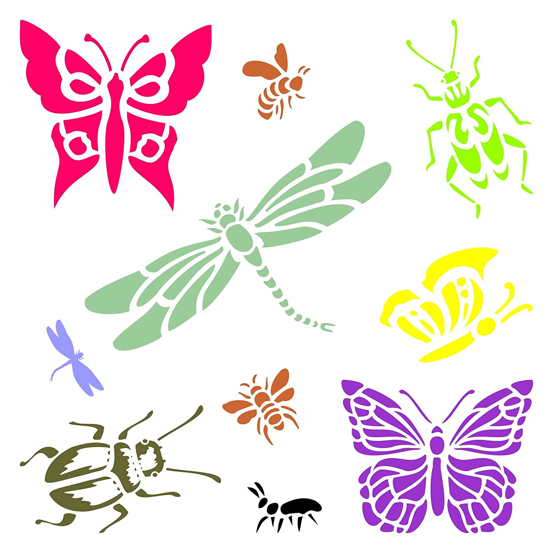 Plantilla reutilizable para pared, diseño de libélulas, mariposas y abejas, para usar en proyectos de papel, álbumes de recortes, paredes de suelos, tela, ...