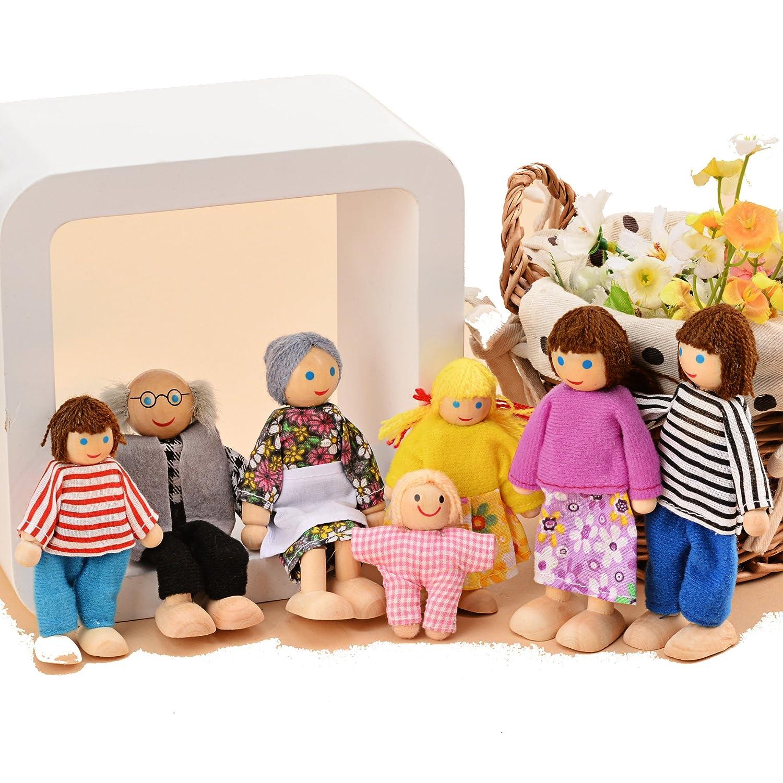 Pagacat Biegepuppen, 7-köpfige Puppenfamilien Puppenhaus für Kinder Spiel Haus Geschenk Holz