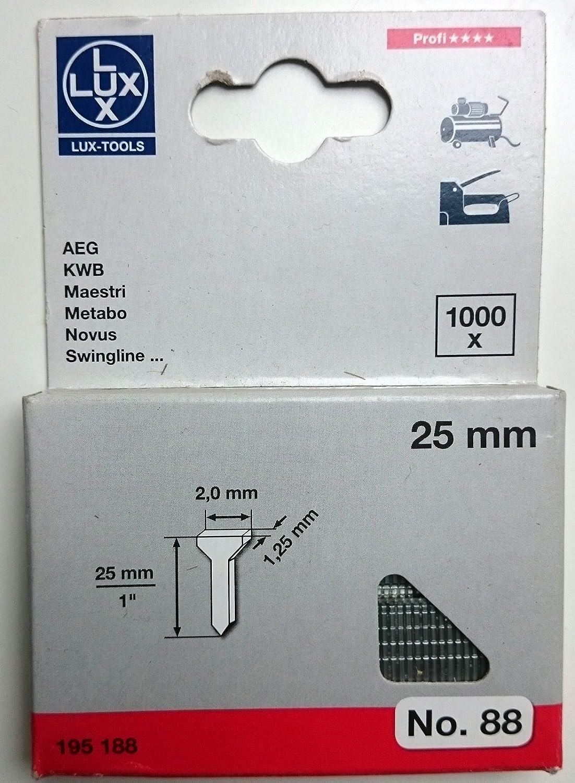 LUX 195188 25 mm Klammern R/ückenbreite in mm 2 mm Drahtst/ärke in mm 1,25 mm PROFI