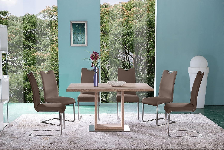 SAM® Tischgruppe Sonomaeiche RH1099 7tlg braun RH2233, Stühle aus Echtleder, Freischwinger in braun, Artikel zerlegt, lieferung mit Spedition und telefonische Avisierung