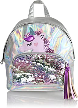 Leather Cute Unicorns Playing Listening To Music Backpack Daypack Bag Women