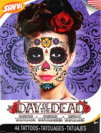 2e63c3719 Amazon.com : Floral Day of the Dead Sugar Skull Temporary Face Tattoo Kit :  Beauty